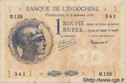 1 Roupie Walhain, 2ème type INDE FRANÇAISE  1945 P.04d TTB+