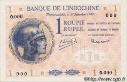 1 Roupie Walhain, 2ème type INDE FRANÇAISE  1945 P.004ds NEUF