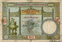 50 Roupies INDE FRANÇAISE  1936 P.007b B+
