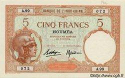 5 Francs Walhain, type 1926 NOUVELLE CALÉDONIE  1936 P.36b SUP+