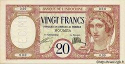 20 Francs au paon NOUVELLE CALÉDONIE  1927 P.37as SPL+