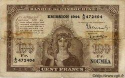 100 Francs impression australienne 1944 NOUVELLE CALÉDONIE  1944 P.46b pr.B