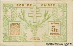 5 Francs NOUVELLE CALÉDONIE  1943 P.58 pr.TTB