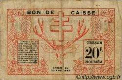 20 Francs type I NOUVELLE CALÉDONIE  1943 P.57a B+