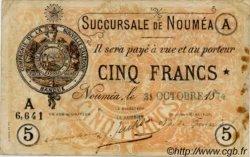 Cinq Francs NOUVELLE CALÉDONIE  1874 P.02 var pr.TB
