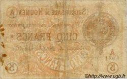 5 Francs NOUVELLE CALÉDONIE Nouméa 1874 P.02 var pr.TB