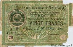 20 Francs NOUVELLE CALÉDONIE Nouméa 1875 P.07 AB