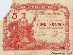 5 Francs TAHITI  1905 P.01b var B