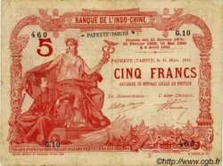 5 Francs TAHITI  1914 P.01b B+