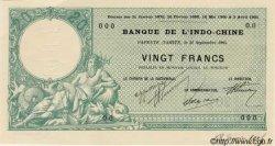 20 francs vert au Neptune TAHITI  1905 P.02 pr.NEUF