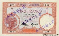 5 Francs TAHITI  1936 P.11cs NEUF