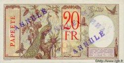20 Francs au paon TAHITI  1936 P.12c SPL