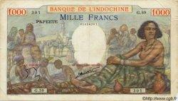 1000 Francs type 1938 TAHITI  1954 P.15c TB