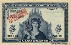 5 Francs TAHITI  1944 P.19s pr.NEUF