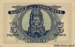 5 Francs TAHITI  1944 P.19a var SUP