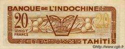 20 Francs TAHITI  1944 P.20s pr.SPL
