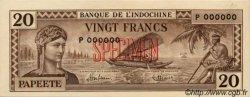20 Francs impression australienne TAHITI  1944 P.20s SPL