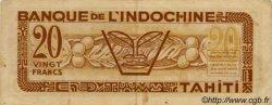 20 Francs impression australienne TAHITI  1944 P.20 TTB