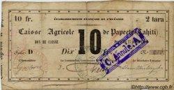 10 FRANCS - 2 tara - BON DE CAISSE TAHITI  1880 P. - pr.TB