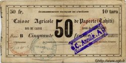 50 FRANCS - 10 tara - BON DE CAISSE TAHITI  1880 P. - pr.TB
