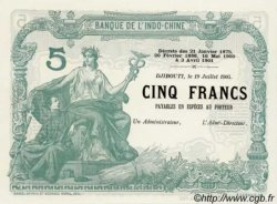 5 Francs avec décrets DJIBOUTI  1905 P. - NEUF
