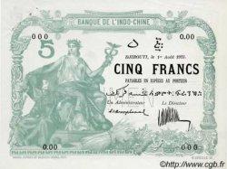 5 Francs sans décrets DJIBOUTI  1923 P.01s SUP+
