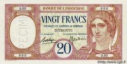 20 Francs au paon type I DJIBOUTI  1932 P.07as pr.NEUF