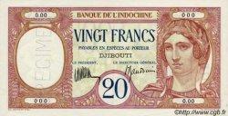 20 Francs au paon type I DJIBOUTI  1936 P.07as NEUF
