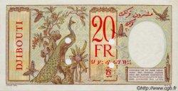 20 Francs au paon au disque rouge DJIBOUTI  1947 P.07Bs SPL