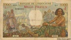 1000 Francs type 1938 DJIBOUTI  1938 P.10 B+