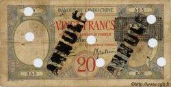 20 Francs au paon BIC Djibouti DJIBOUTI  1943 P.12As B+