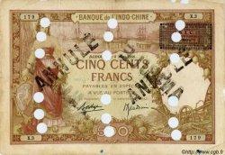 500 Francs surchargé BIC DJIBOUTI  1927 P.13Cs B+
