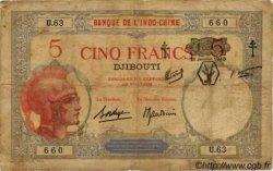 5 Francs DJIBOUTI  1943 P.11 B+
