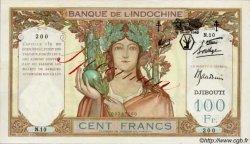 100 Francs surchargé FC DJIBOUTI  1943 P.13s SUP+