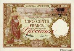 500 Francs surchargé FC DJIBOUTI  1943 P.13B pr.SPL
