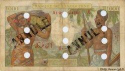 1000 Francs type 1938 surchargé FC DJIBOUTI  1943 P.13Ds B+
