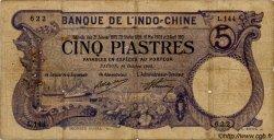 5 Piastres INDOCHINE FRANÇAISE  1916 P.037b B+