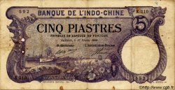 5 Piastres INDOCHINE FRANÇAISE  1920 P.040 TB