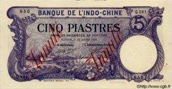 5 Piastres INDOCHINE FRANÇAISE Saïgon 1920 P.040 SPL