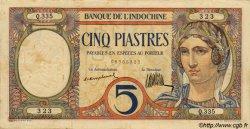 5 Piastres INDOCHINE FRANÇAISE  1923 P.049a TTB