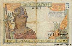 5 Piastres INDOCHINE FRANÇAISE  1946 P.055c B+