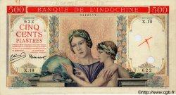 500 Piastres à-plats rouges INDOCHINE FRANÇAISE  1951 P.083 var SUP