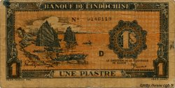 1 Piastre orange INDOCHINE FRANÇAISE  1945 P.058 var B