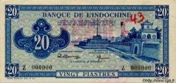 20 Piastres bleu INDOCHINE FRANÇAISE  1943 P.065s SPL