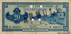 20 Piastres bleu INDOCHINE FRANÇAISE  1943 P.065s TTB+