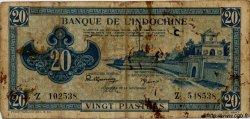 20 Piastres bleu INDOCHINE FRANÇAISE  1943 P.065 B+