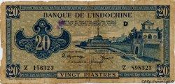 20 Piastres bleu INDOCHINE FRANÇAISE  1943 P.065 pr.TB