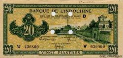 20 Piastres vert INDOCHINE FRANÇAISE  1944 P.070 SUP