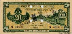 20 Piastres vert INDOCHINE FRANÇAISE  1944 P.070s SUP