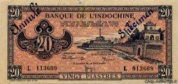 20 Piastres rose orangé INDOCHINE FRANÇAISE  1945 P.072s SUP